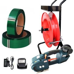 Baterijski alat za vezanje TES set PET traka + razmotač + baterija + punjač