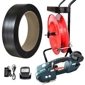 Baterijski alat za vezivanje PP traka TES + razmotač + baterija + punjač